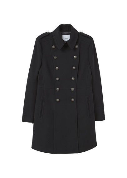 Military Style Wool Coat - pattern: plain; length: standard; style: double breasted military coat; predominant colour: black; occasions: casual; fit: tailored/fitted; fibres: wool - 100%; collar: shirt collar/peter pan/zip with opening; sleeve length: long sleeve; sleeve style: standard; collar break: high; pattern type: fabric; texture group: woven bulky/heavy; wardrobe: basic; season: a/w 2016