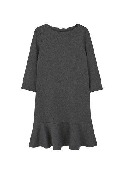 Fluted Hem Dress - style: shift; fit: tailored/fitted; pattern: plain; predominant colour: charcoal; occasions: evening, creative work; length: just above the knee; fibres: polyester/polyamide - stretch; neckline: crew; sleeve length: 3/4 length; sleeve style: standard; texture group: crepes; hip detail: ruffles/tiers/tie detail at hip; pattern type: fabric; season: a/w 2016; wardrobe: highlight
