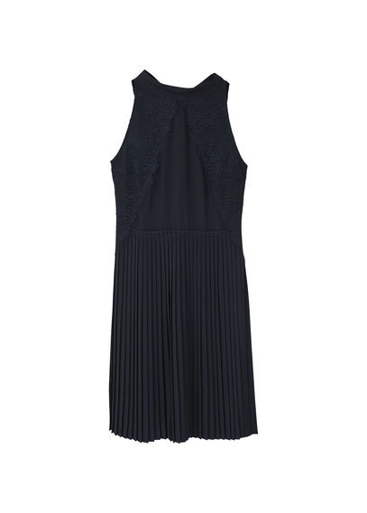Pleated Hem Dress - style: shift; pattern: plain; sleeve style: sleeveless; neckline: high neck; predominant colour: black; occasions: evening; length: on the knee; fit: body skimming; fibres: polyester/polyamide - 100%; hip detail: soft pleats at hip/draping at hip/flared at hip; sleeve length: sleeveless; texture group: sheer fabrics/chiffon/organza etc.; pattern type: fabric; season: a/w 2016; wardrobe: event