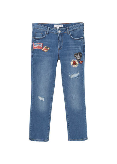 Cropped Straight Scout Jeans - style: straight leg; length: standard; pattern: plain; pocket detail: traditional 5 pocket; waist: mid/regular rise; predominant colour: denim; occasions: casual; fibres: cotton - stretch; texture group: denim; pattern type: fabric; embellishment: embroidered; jeans detail: rips; wardrobe: basic; season: a/w 2016; embellishment location: pattern
