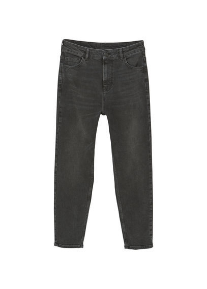 Relaxed Cropped Mom Jeans - style: boyfriend; length: standard; pattern: plain; waist: mid/regular rise; predominant colour: black; occasions: casual; fibres: cotton - stretch; texture group: denim; pattern type: fabric; wardrobe: basic; season: a/w 2016