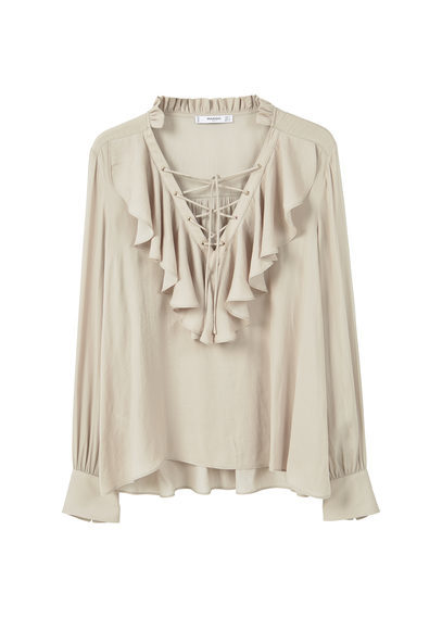Ruffled Blouse - neckline: low v-neck; pattern: plain; length: below the bottom; style: blouse; predominant colour: ivory/cream; occasions: casual, creative work; fibres: polyester/polyamide - 100%; fit: loose; sleeve length: long sleeve; sleeve style: standard; bust detail: bulky details at bust; pattern type: fabric; texture group: other - light to midweight; season: a/w 2016; wardrobe: highlight