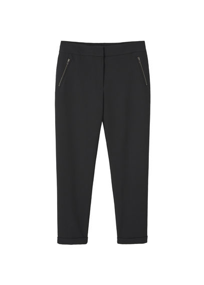 Flowy Crepe Trousers - length: standard; pattern: plain; waist: mid/regular rise; predominant colour: black; occasions: work, creative work; fibres: polyester/polyamide - 100%; texture group: crepes; fit: straight leg; pattern type: fabric; style: standard; wardrobe: basic; season: a/w 2016