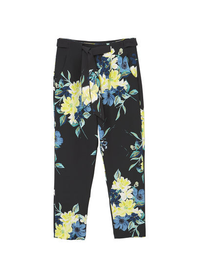 Floral Print Trousers - length: standard; waist detail: belted waist/tie at waist/drawstring; waist: mid/regular rise; secondary colour: primrose yellow; predominant colour: black; occasions: casual; fibres: polyester/polyamide - stretch; fit: straight leg; pattern type: fabric; pattern: florals; texture group: woven light midweight; style: standard; multicoloured: multicoloured; season: a/w 2016; wardrobe: highlight