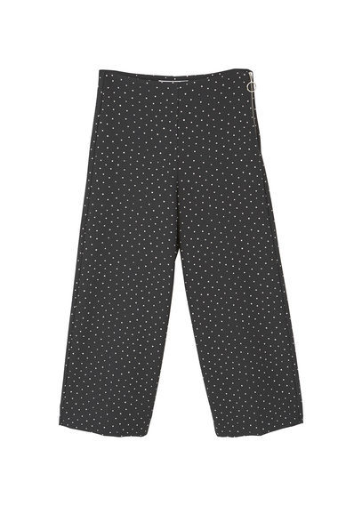 Straight Cut Crop Trousers - pattern: polka dot; waist: mid/regular rise; secondary colour: white; predominant colour: black; occasions: casual; length: ankle length; fibres: polyester/polyamide - stretch; fit: wide leg; pattern type: fabric; texture group: jersey - stretchy/drapey; style: standard; multicoloured: multicoloured; season: a/w 2016; wardrobe: highlight