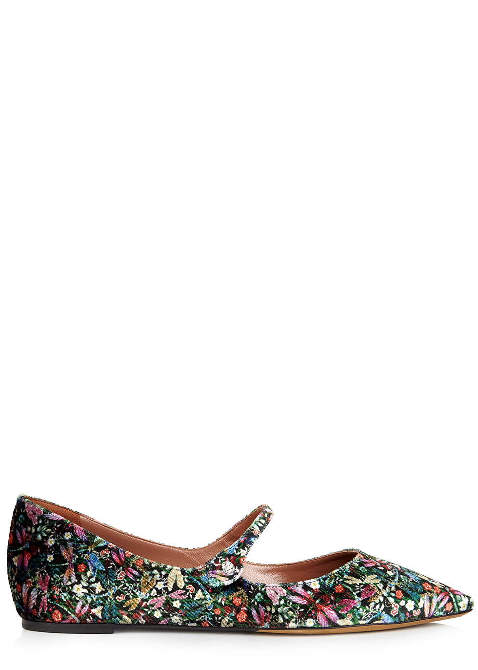 Hermione Floral Print Velvet Flats - predominant colour: dark green; occasions: casual, creative work; material: velvet; heel height: flat; toe: pointed toe; style: ballerinas / pumps; finish: plain; pattern: florals; multicoloured: multicoloured; season: a/w 2016