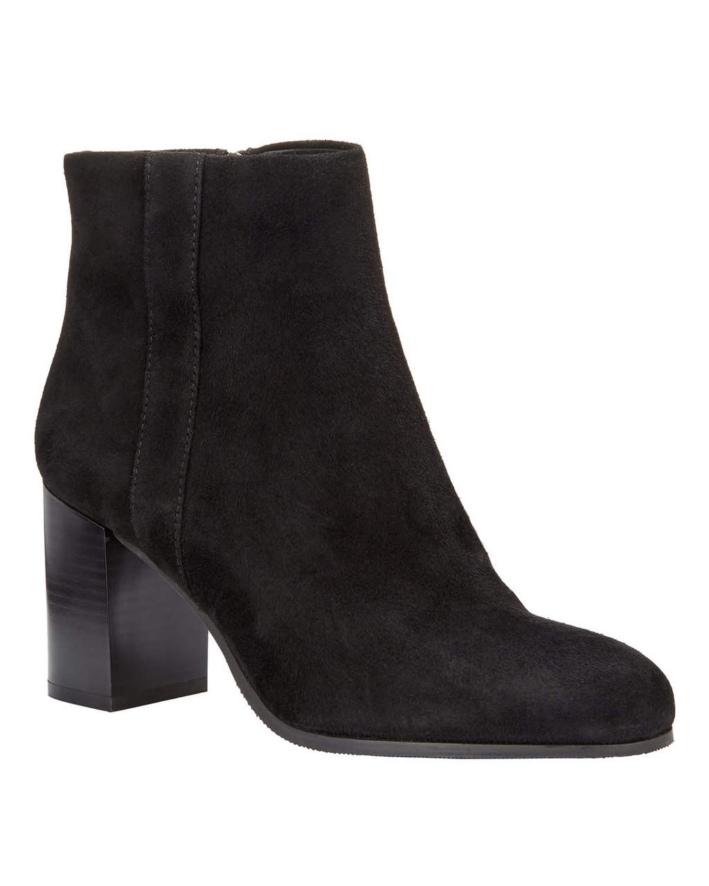 Ellen Block Heel Ankle Boot - predominant colour: black; occasions: casual; material: suede; heel height: high; heel: block; toe: round toe; boot length: ankle boot; style: standard; finish: plain; pattern: plain; season: a/w 2016; wardrobe: highlight