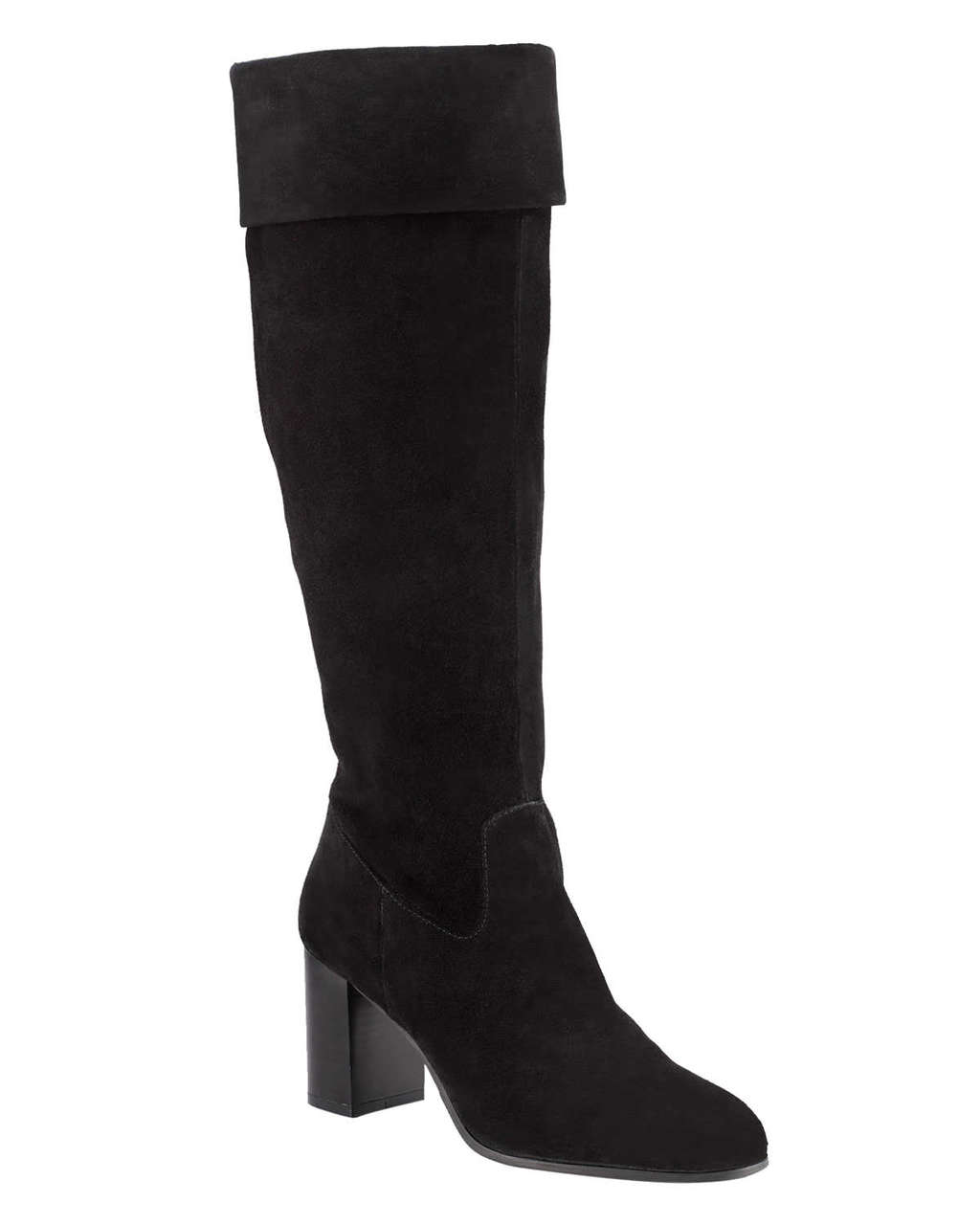 Natalia Knee High Boots - predominant colour: black; occasions: casual; material: suede; heel height: high; heel: block; toe: round toe; boot length: knee; style: standard; finish: plain; pattern: plain; wardrobe: investment; season: a/w 2016
