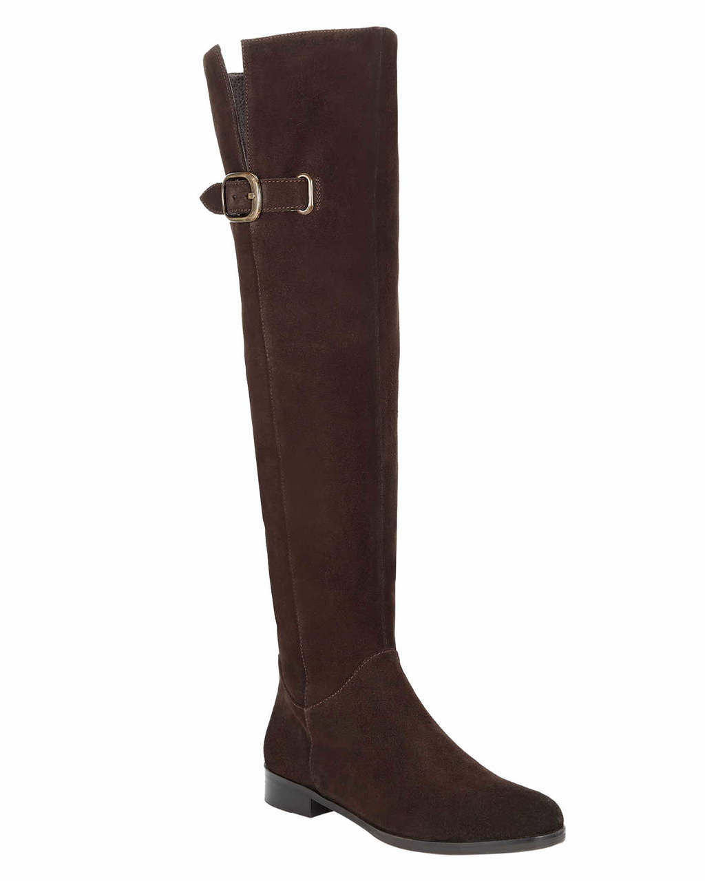Anna Suede Knee High Boot - predominant colour: black; occasions: casual; material: suede; heel height: flat; heel: standard; toe: round toe; boot length: over the knee; style: standard; finish: plain; pattern: plain; wardrobe: investment; season: a/w 2016