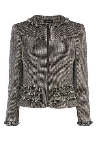 Tweed Jacket - pattern: plain; collar: round collar/collarless; style: boxy; predominant colour: charcoal; occasions: casual, creative work; length: standard; fit: straight cut (boxy); fibres: cotton - mix; hip detail: adds bulk at the hips; sleeve length: long sleeve; sleeve style: standard; collar break: high; pattern type: fabric; texture group: tweed - bulky/heavy; season: a/w 2016; wardrobe: highlight; embellishment location: bust