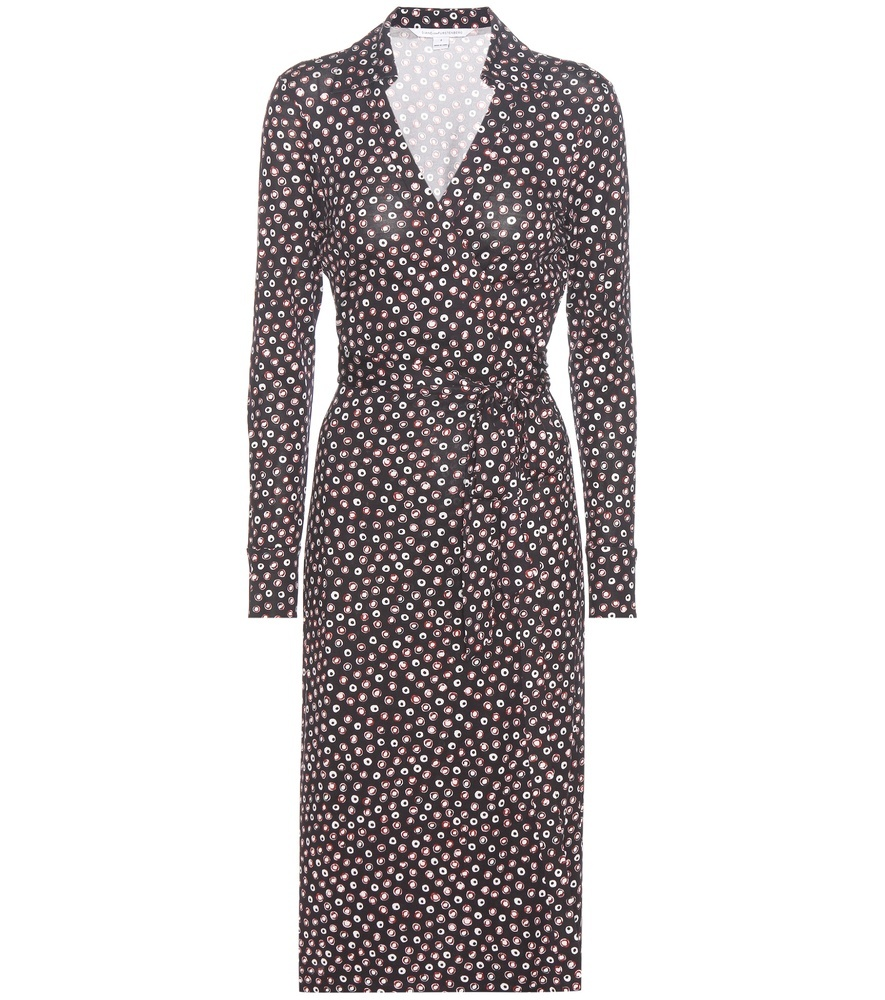Cybil Printed Silk Jersey Wrap Dress - style: faux wrap/wrap; waist detail: belted waist/tie at waist/drawstring; secondary colour: white; predominant colour: charcoal; occasions: evening; length: on the knee; fit: body skimming; neckline: collarstand & mandarin with v-neck; fibres: silk - 100%; sleeve length: long sleeve; sleeve style: standard; pattern type: fabric; pattern: patterned/print; texture group: jersey - stretchy/drapey; multicoloured: multicoloured; season: a/w 2016