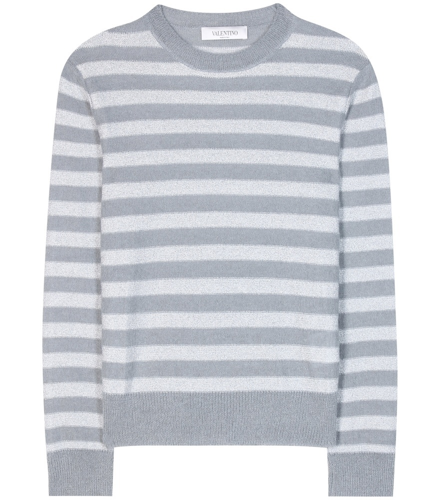 Striped Mohair And Wool Blend Sweater - neckline: round neck; pattern: horizontal stripes; style: standard; predominant colour: light grey; occasions: casual, work, creative work; length: standard; fibres: wool - mix; fit: standard fit; sleeve length: long sleeve; sleeve style: standard; texture group: knits/crochet; pattern type: knitted - fine stitch; pattern size: big & busy (top); season: a/w 2016