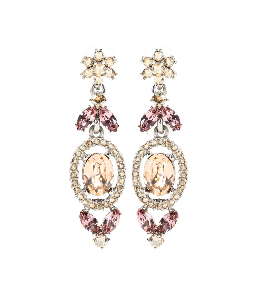 Floral Navette Crystal Embellished Drop Earrings - predominant colour: gold; occasions: evening, occasion; style: drop; length: long; size: standard; material: chain/metal; fastening: pierced; finish: metallic; embellishment: crystals/glass; season: a/w 2016; wardrobe: event