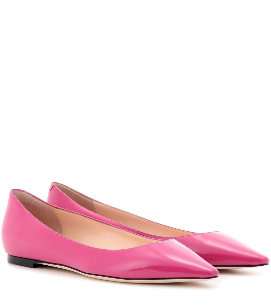 Romy Patent Leather Ballerinas - predominant colour: hot pink; occasions: casual; material: leather; heel height: flat; toe: pointed toe; style: ballerinas / pumps; finish: patent; pattern: plain; season: a/w 2016