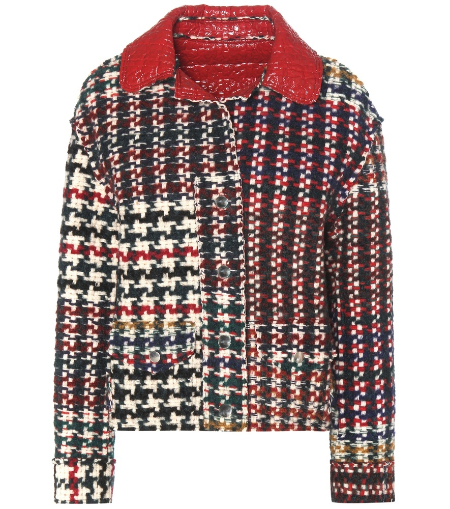 Reversible Wool, Alpaca And Mohair Blend Jacket - style: boxy; predominant colour: true red; secondary colour: true red; occasions: casual; length: standard; fit: straight cut (boxy); fibres: wool - mix; collar: shirt collar/peter pan/zip with opening; sleeve length: long sleeve; sleeve style: standard; collar break: high; pattern type: fabric; pattern: patterned/print; texture group: woven light midweight; multicoloured: multicoloured; season: a/w 2016; wardrobe: highlight