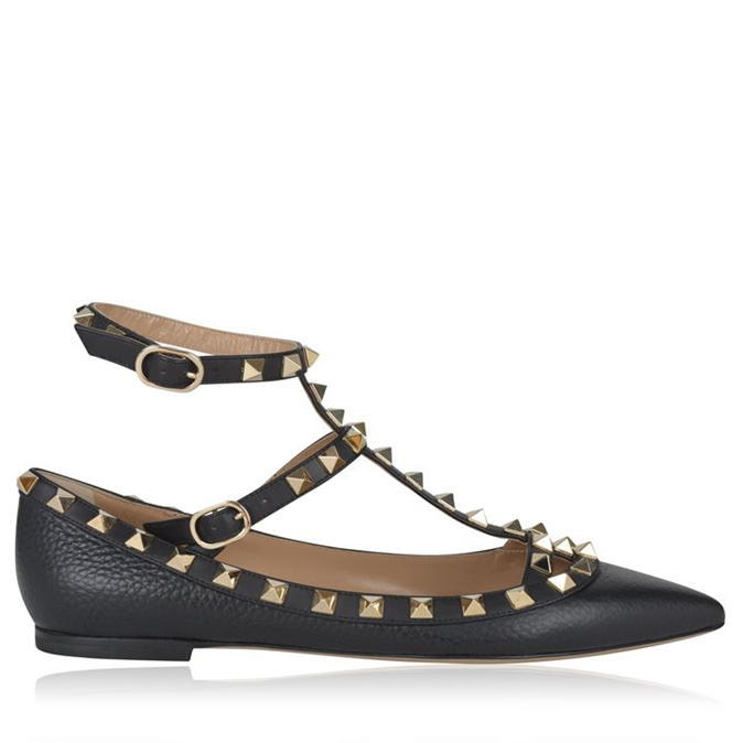 Rockstud Ballet Pump - predominant colour: black; occasions: casual; material: leather; heel height: flat; embellishment: studs; ankle detail: ankle strap; toe: pointed toe; style: ballerinas / pumps; finish: plain; pattern: plain; season: a/w 2016