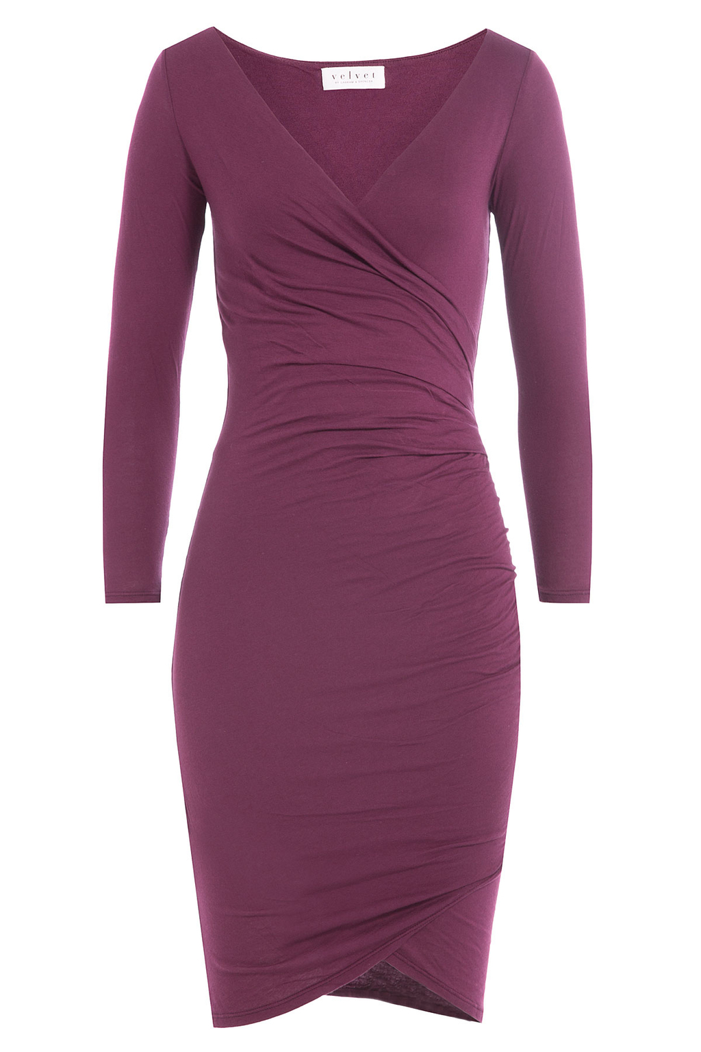 Draped Cotton Dress - style: faux wrap/wrap; neckline: v-neck; fit: tight; pattern: plain; predominant colour: purple; occasions: evening; length: on the knee; fibres: cotton - 100%; sleeve length: long sleeve; sleeve style: standard; texture group: jersey - clingy; pattern type: fabric; season: a/w 2016; wardrobe: event