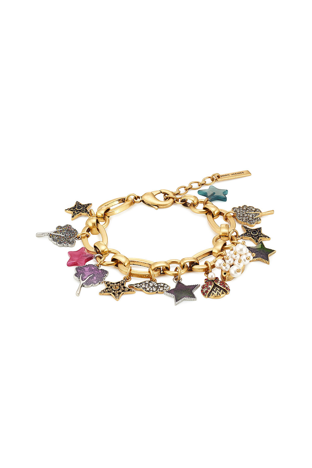 Embellished Charm Bracelet - predominant colour: gold; occasions: evening, occasion; style: charm; size: standard; material: chain/metal; finish: metallic; embellishment: jewels/stone; multicoloured: multicoloured; season: a/w 2016; wardrobe: event