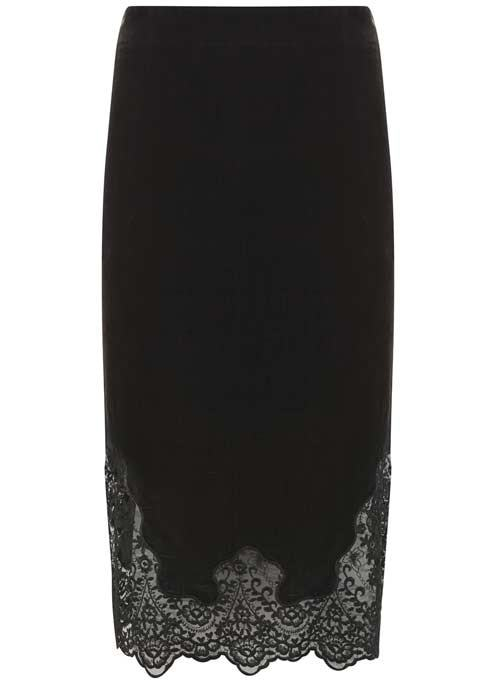Charcoal Velvet Lace Pencil Skirt - length: below the knee; pattern: plain; style: pencil; waist: mid/regular rise; predominant colour: black; occasions: evening, occasion; fit: straight cut; pattern type: fabric; texture group: velvet/fabrics with pile; fibres: viscose/rayon - mix; embellishment: lace; season: a/w 2016; wardrobe: event; embellishment location: hem