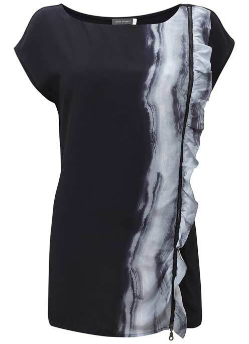 Sky Print Ruffle Top - sleeve style: capped; length: below the bottom; pattern: tie dye; bust detail: subtle bust detail; secondary colour: light grey; predominant colour: black; occasions: casual, creative work; style: top; neckline: scoop; fibres: viscose/rayon - 100%; fit: body skimming; hip detail: adds bulk at the hips; shoulder detail: subtle shoulder detail; sleeve length: short sleeve; pattern type: fabric; pattern size: standard; texture group: jersey - stretchy/drapey; season: a/w 2016; wardrobe: highlight