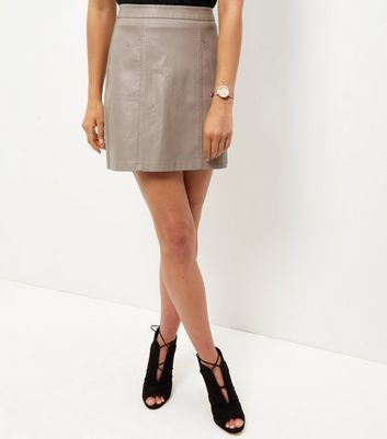 Mink Seam Trim Leather Look Mini Skirt - length: mini; pattern: plain; waist: high rise; predominant colour: taupe; occasions: evening, creative work; style: mini skirt; fibres: polyester/polyamide - 100%; texture group: leather; fit: straight cut; pattern type: fabric; season: a/w 2016; wardrobe: highlight