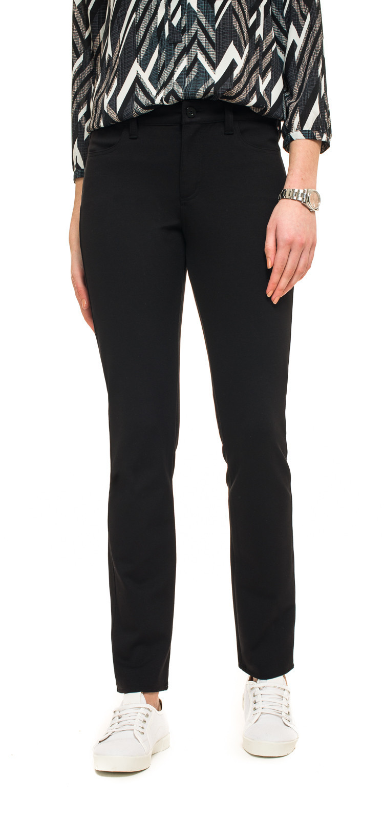 Nydj Black Cindy Slim Jersey Trouser - length: standard; pattern: plain; waist: mid/regular rise; predominant colour: black; occasions: casual, creative work; fibres: viscose/rayon - 100%; fit: slim leg; pattern type: fabric; texture group: jersey - stretchy/drapey; style: standard; wardrobe: basic; season: a/w 2016
