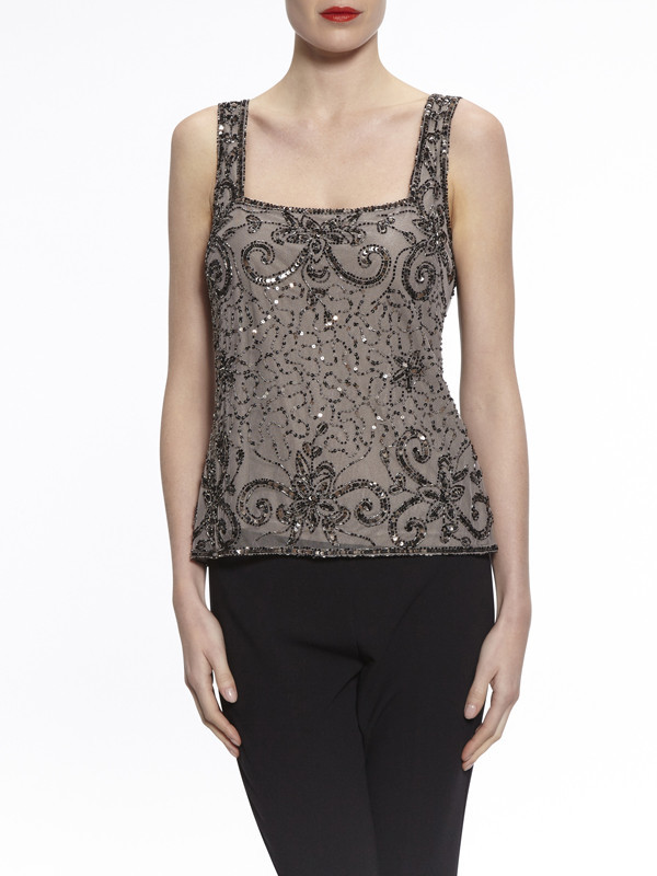 Gina Bacconi Pewter Bead And Sequin Cami - sleeve style: standard vest straps/shoulder straps; style: camisole; predominant colour: black; occasions: evening, occasion; length: standard; fibres: polyester/polyamide - 100%; fit: tailored/fitted; sleeve length: sleeveless; neckline: low square neck; pattern type: fabric; pattern: patterned/print; texture group: other - light to midweight; embellishment: beading; pattern size: big & busy (top); season: a/w 2016; wardrobe: event