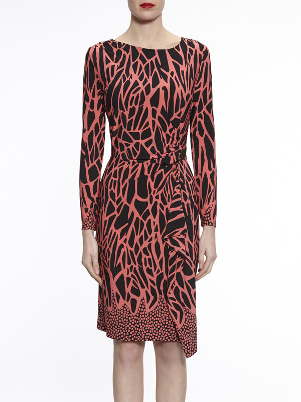 Gina Bacconi Coral/Black Animal Jersey Dress - style: shift; neckline: round neck; waist detail: flattering waist detail; secondary colour: pink; predominant colour: black; occasions: evening; length: on the knee; fit: body skimming; fibres: polyester/polyamide - stretch; sleeve length: long sleeve; sleeve style: standard; pattern type: fabric; pattern: patterned/print; texture group: jersey - stretchy/drapey; multicoloured: multicoloured; season: a/w 2016; wardrobe: event