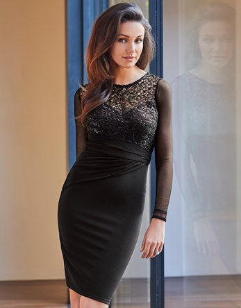 Love Michelle Keegan Mesh Sleeves Sequin Top Bodycon Dress - fit: tight; pattern: plain; style: bodycon; bust detail: sheer at bust; predominant colour: black; occasions: evening; length: on the knee; fibres: polyester/polyamide - stretch; neckline: crew; sleeve length: long sleeve; sleeve style: standard; texture group: jersey - clingy; pattern type: fabric; embellishment: lace; season: a/w 2016; wardrobe: event