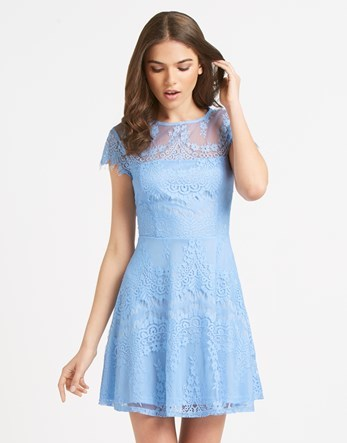 Lace Skater Dress - length: mid thigh; sleeve style: capped; waist detail: fitted waist; predominant colour: pale blue; occasions: evening, occasion; fit: fitted at waist & bust; style: fit & flare; fibres: polyester/polyamide - 100%; neckline: crew; hip detail: subtle/flattering hip detail; sleeve length: sleeveless; texture group: lace; pattern type: fabric; pattern size: standard; pattern: florals; shoulder detail: sheer at shoulder; season: a/w 2016; wardrobe: event