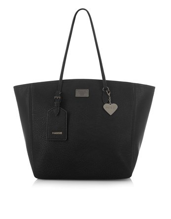 Grab Bag - predominant colour: black; occasions: casual; type of pattern: standard; style: tote; length: shoulder (tucks under arm); size: oversized; material: faux leather; pattern: plain; finish: plain; wardrobe: investment; season: a/w 2016