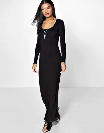 Long Sleeve Maxi Dress - fit: tight; pattern: plain; style: bodycon; predominant colour: black; occasions: casual, evening; length: floor length; neckline: scoop; fibres: viscose/rayon - stretch; sleeve length: long sleeve; sleeve style: standard; texture group: jersey - clingy; pattern type: fabric; season: a/w 2016