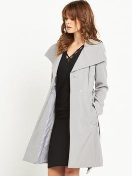 Duster Coat - pattern: plain; collar: wide lapels; style: double breasted; length: mid thigh; predominant colour: light grey; occasions: casual, creative work; fit: straight cut (boxy); fibres: polyester/polyamide - mix; sleeve length: long sleeve; sleeve style: standard; collar break: medium; pattern type: fabric; texture group: woven bulky/heavy; wardrobe: basic; season: a/w 2016