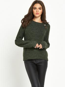 Joya Button Knit - pattern: plain; style: standard; predominant colour: khaki; occasions: casual; length: standard; fibres: acrylic - 100%; fit: standard fit; neckline: crew; sleeve length: long sleeve; sleeve style: standard; texture group: knits/crochet; pattern type: knitted - other; season: a/w 2016