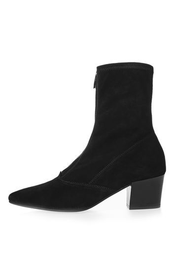 Martin Zip Front Boots - predominant colour: black; occasions: casual, work, creative work; material: suede; heel height: high; heel: block; toe: pointed toe; boot length: ankle boot; style: standard; finish: plain; pattern: plain; season: a/w 2016; wardrobe: highlight