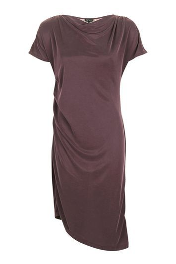 Drape Neck Midi Dress - neckline: cowl/draped neck; pattern: plain; predominant colour: burgundy; occasions: casual, creative work; length: on the knee; fit: body skimming; style: asymmetric (hem); sleeve length: short sleeve; sleeve style: standard; pattern type: fabric; texture group: jersey - stretchy/drapey; fibres: viscose/rayon - mix; trends: tomboy girl; season: a/w 2016; wardrobe: highlight