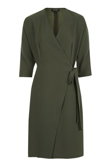 Batwing Wrap Dress - style: faux wrap/wrap; length: mid thigh; neckline: v-neck; fit: tailored/fitted; pattern: plain; waist detail: belted waist/tie at waist/drawstring; predominant colour: khaki; occasions: evening, creative work; fibres: polyester/polyamide - stretch; sleeve length: 3/4 length; sleeve style: standard; texture group: crepes; pattern type: fabric; wardrobe: investment; season: a/w 2016; trends: military