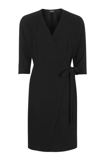 Batwing Wrap Dress - style: faux wrap/wrap; length: mid thigh; neckline: v-neck; fit: tailored/fitted; pattern: plain; waist detail: belted waist/tie at waist/drawstring; predominant colour: black; occasions: work, creative work; fibres: polyester/polyamide - stretch; sleeve length: 3/4 length; sleeve style: standard; texture group: crepes; pattern type: fabric; pattern size: standard; trends: glossy girl; wardrobe: investment; season: a/w 2016