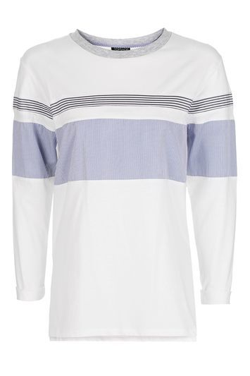 Stripe Hybrid Long Sleeve T Shirt - pattern: striped; style: t-shirt; predominant colour: white; secondary colour: light grey; occasions: casual; length: standard; fibres: cotton - stretch; fit: straight cut; neckline: crew; sleeve length: long sleeve; sleeve style: standard; pattern type: fabric; texture group: jersey - stretchy/drapey; season: a/w 2016; wardrobe: highlight