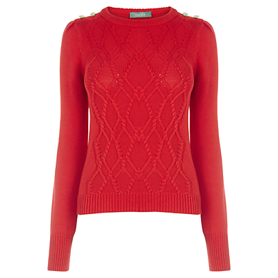 Military Cable Knit Jumper - neckline: round neck; pattern: plain; style: standard; predominant colour: true red; occasions: casual, work, creative work; length: standard; fibres: cotton - 100%; fit: slim fit; sleeve length: long sleeve; sleeve style: standard; texture group: knits/crochet; pattern type: knitted - fine stitch; season: a/w 2016; wardrobe: highlight; trends: chunky knits