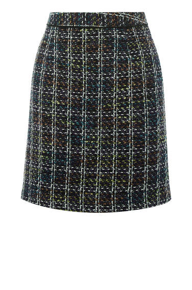 Tweed Pelmet Skirt - length: mid thigh; pattern: checked/gingham; style: straight; fit: tailored/fitted; waist: mid/regular rise; predominant colour: charcoal; secondary colour: light grey; occasions: casual; fibres: polyester/polyamide - mix; pattern type: fabric; texture group: tweed - light/midweight; multicoloured: multicoloured; season: a/w 2016; wardrobe: highlight