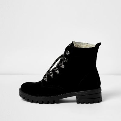 Womens Black Suede Hiker Boots - predominant colour: black; occasions: casual, creative work; material: suede; heel height: mid; heel: block; toe: round toe; boot length: ankle boot; style: hiking; finish: plain; pattern: plain; wardrobe: basic; season: a/w 2016