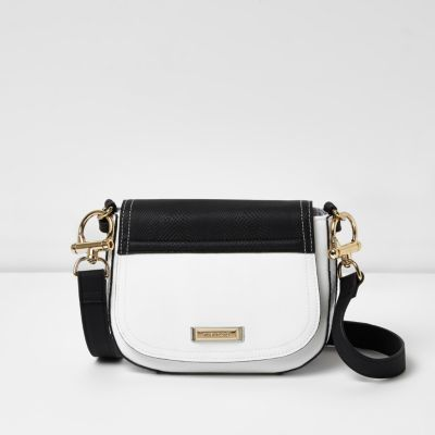 Womens White And Black Panel Satchel Bag - predominant colour: white; secondary colour: black; occasions: casual, creative work; type of pattern: standard; style: satchel; length: across body/long; size: standard; material: faux leather; finish: plain; pattern: colourblock; season: a/w 2016; wardrobe: highlight
