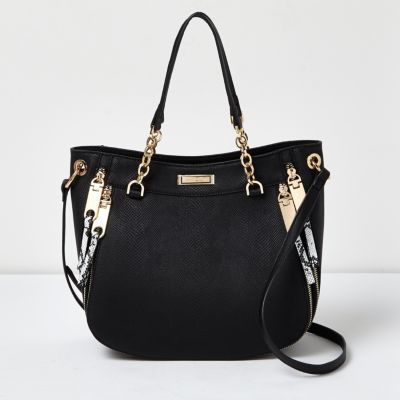 Womens Black Snakeskin Chain Detail Tote With Zips - predominant colour: black; occasions: casual, creative work; type of pattern: light; style: tote; length: shoulder (tucks under arm); size: oversized; material: faux leather; pattern: plain; finish: plain; wardrobe: investment; season: a/w 2016