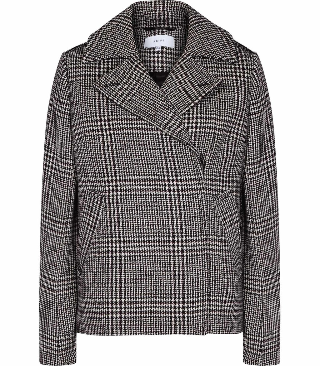 Harley Womens Checked Coat In Black - pattern: checked/gingham; length: standard; style: single breasted; collar: standard lapel/rever collar; secondary colour: ivory/cream; predominant colour: black; occasions: casual, work, creative work; fit: straight cut (boxy); fibres: acrylic - mix; sleeve length: long sleeve; sleeve style: standard; collar break: medium; pattern type: fabric; texture group: woven bulky/heavy; multicoloured: multicoloured; season: a/w 2016; wardrobe: highlight