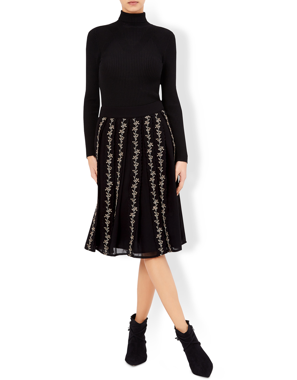 Sinead Short Embroidered Skirt - length: below the knee; pattern: plain; style: full/prom skirt; fit: loose/voluminous; waist: high rise; predominant colour: black; fibres: polyester/polyamide - 100%; occasions: occasion, creative work; hip detail: subtle/flattering hip detail; texture group: sheer fabrics/chiffon/organza etc.; pattern type: fabric; embellishment: embroidered; season: a/w 2016; wardrobe: highlight