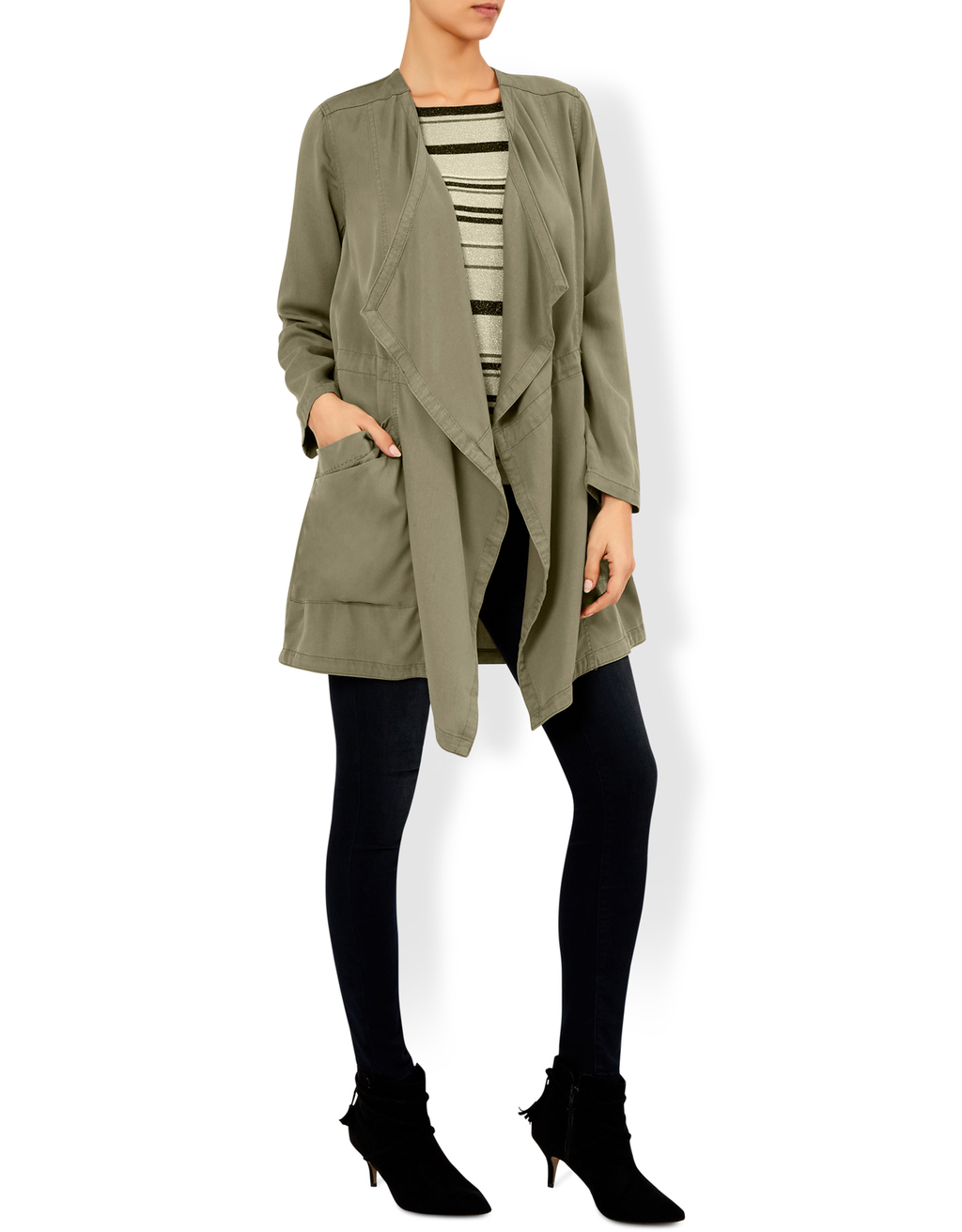 Eliza Waterfall Jacket - pattern: plain; length: below the bottom; collar: shawl/waterfall; fit: loose; style: parka; predominant colour: khaki; occasions: casual; fibres: viscose/rayon - 100%; waist detail: belted waist/tie at waist/drawstring; sleeve length: long sleeve; sleeve style: standard; collar break: low/open; pattern type: fabric; texture group: woven bulky/heavy; wardrobe: basic; season: a/w 2016