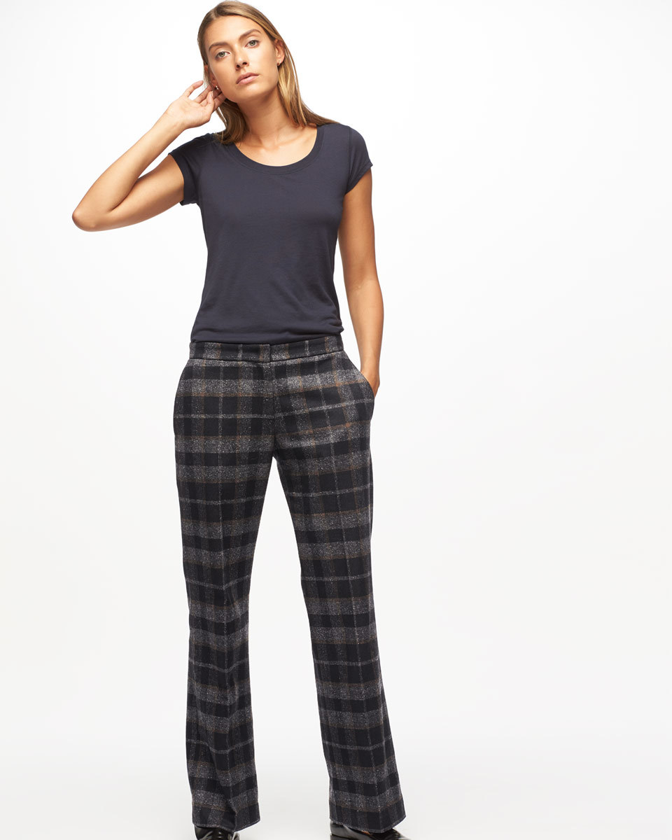 Plaid Parallel City Trousers - length: standard; pattern: checked/gingham; waist: mid/regular rise; predominant colour: black; occasions: work; fibres: wool - mix; fit: straight leg; pattern type: fabric; texture group: woven light midweight; style: standard; season: a/w 2016; wardrobe: highlight