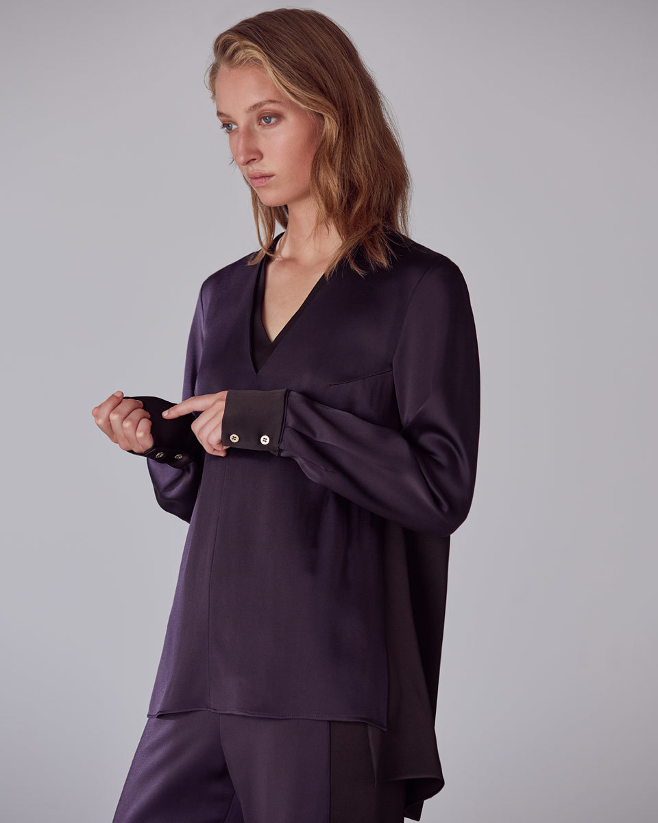 Betty Slouchy Top - neckline: v-neck; pattern: plain; predominant colour: aubergine; occasions: casual, creative work; length: standard; style: top; fibres: silk - 100%; fit: loose; back detail: longer hem at back than at front; sleeve length: long sleeve; sleeve style: standard; texture group: silky - light; pattern type: fabric; season: a/w 2016