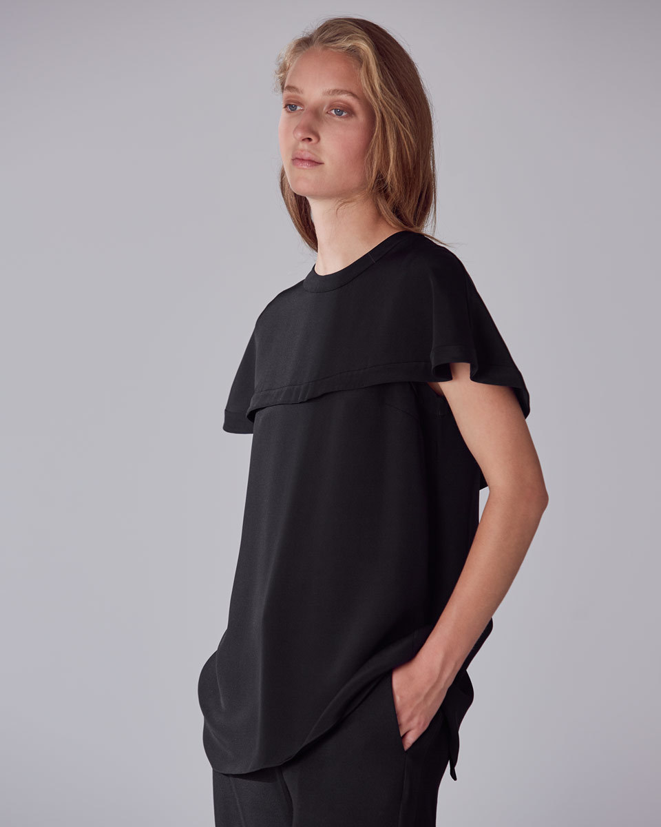 Lola Cape Silk Top - pattern: plain; length: below the bottom; predominant colour: black; occasions: casual, work, creative work; style: top; fibres: silk - 100%; fit: body skimming; neckline: crew; sleeve length: short sleeve; sleeve style: standard; texture group: silky - light; pattern type: fabric; wardrobe: basic; season: a/w 2016